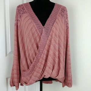 Free People Valley City top in washed rose NWT